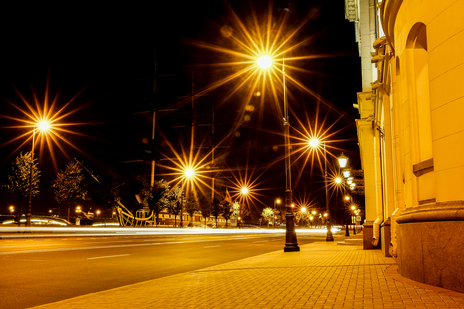 Night City Street Lights, Bokeh, Background, Darkness. Night Lig