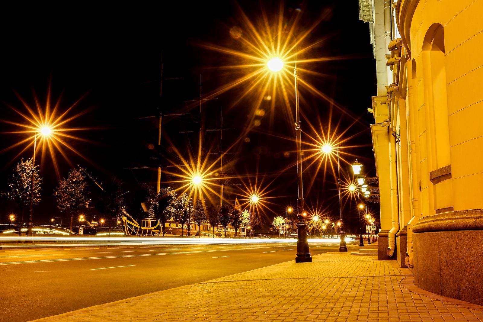 Night City Street Lights, Bokeh, Background, Darkness. Night Lig