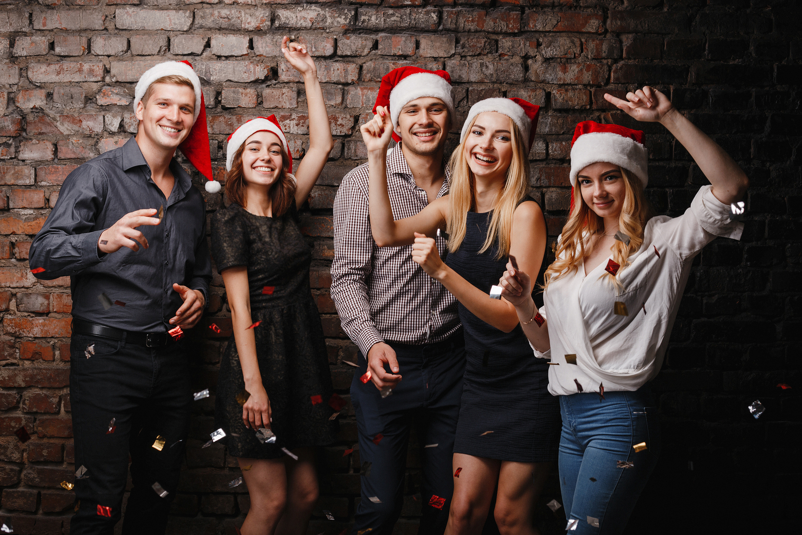Christmas, Dance Party In Night Club, Holiday, Fun. Happy People